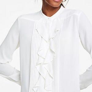 Ann Taylor Icon Ruffle Blouse in Cream / Off-White